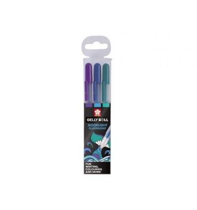 Набор гелевых ручек SAKURA Gelly Roll Moonlight Океан, 3 флюорисцентных цвета (Фиолетовый, Синий, Зеленый)