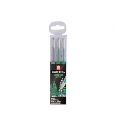 Набор гелевых ручек SAKURA Gelly Roll Stardust Лес, 3 мерцающих цвета (зеленые оттенки)