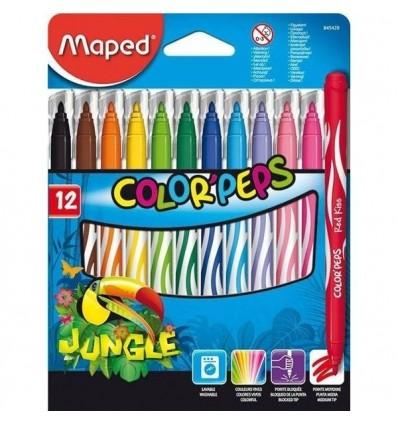 Фломастеры Maped COLOR PEPS JUNGLE 12 цветов