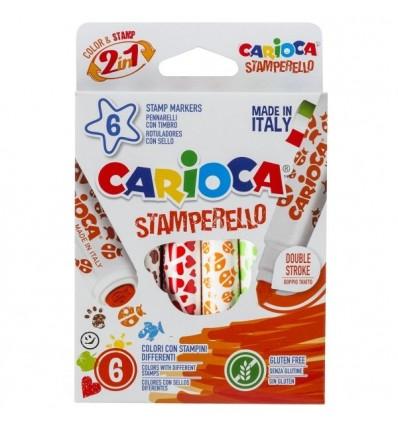 Набор фломастеров со штампами Carioca Stamp Markers 42279, 6 цветов