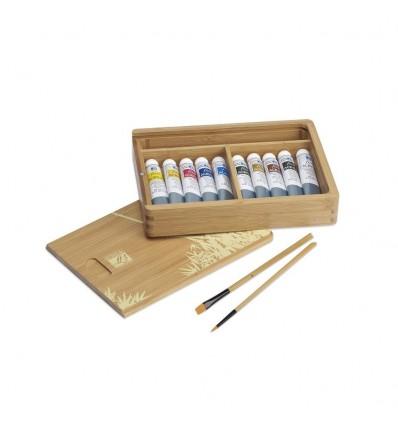Акриловые краски в тюбиках LEFRANC&BOURGEOIS FINE Artist, 10 цветов по 20мл, 2 кисти в бамбуковой коробке