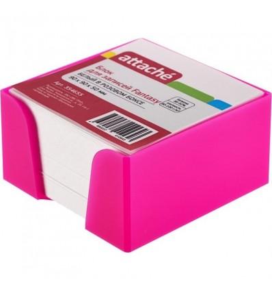 Блок-кубик Attache Fantasy белый, 9х9х5, в розовом стакане