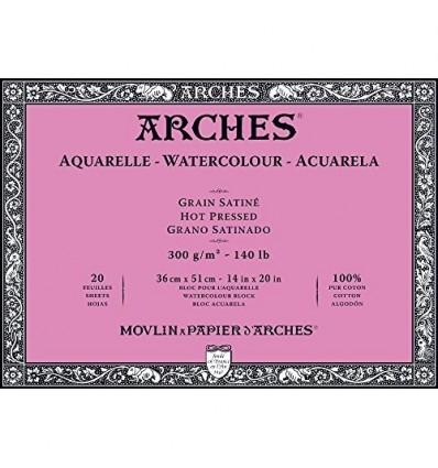 Альбом для акварели Arches Satin 36*51см, 300гр. 20л., бумага гладкая, склейка по 4-м сторонам