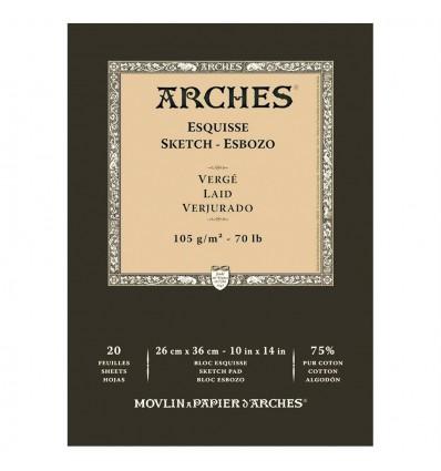 Альбом для графики CANSON Arches Esquisse 26*36см, 105гр, 20л., Верже склейка