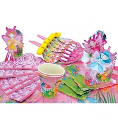 Набор для праздника ФЕИ РАДУГИ (тарелки, стаканы, салфетки, Язочки, короны, трубочки, подвески и скатерть)
