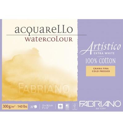 Альбом для акварели Fabriano Artistico Extra White FIN 30,5x45,5см, 300гр., 20л., бумага мелкое зерно, склейка по 4-м сторонам