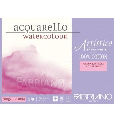 Альбом для акварели Fabriano Artistico Extra White Satin 12,5x18см, 300гр., 25л., бумага гладкая, склейка по 4-м сторонам