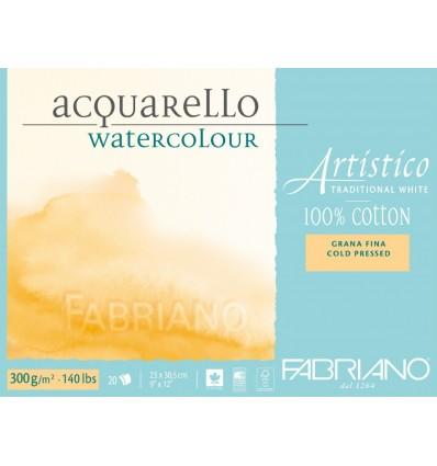 Альбом для акварели Fabriano Artistico Traditional White FIN 23x30,5см, 300гр., 12л., бумага мелкое зерно, спираль