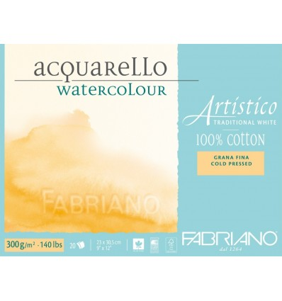 Альбом для акварели Fabriano Artistico Traditional White FIN 23x30,5см, 300гр., 20л., мелкое зерно, склейка по 4-м сторонам