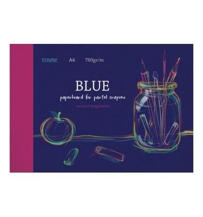 Альбом для рисования пастелью Kroyter BLUE 7521, А4 10л., 760 гр, бумага Синяя, Склейка