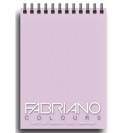 Альбом для зарисовок Fabriano Writing Colors 10,5x14,8см, 80гр., 100л., Цвет бумаги: Лаванда, спираль