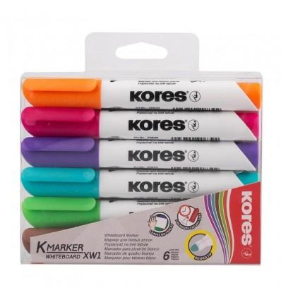 Набор маркеров для досок Kores 20800, круглый наконечник 3мм, 6 цветов