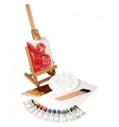 Набор масляных красок DALER ROWNEY SIMPLY set - 12 цв по 12 мл, мольберт, 7 кистей, 4 карандаша, 3 холста, палитра