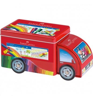 Набор фломастеров с клипом FABER-CASTELL Connector Машина, 33 цвета, 10 клипов, метал. коробка