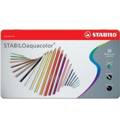 Карандаши акварельные STABILO aquacolor, 36 цветов в металлическом пенале