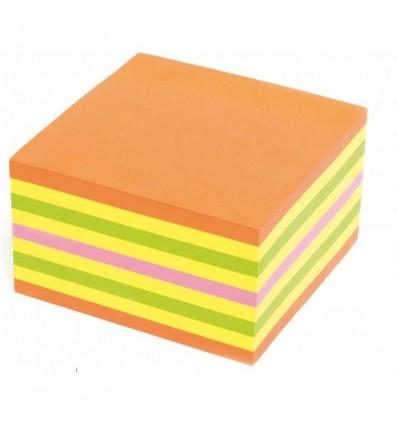 Блок-кубик с клейким краем Kores неоновый, 4 цвета, 450 листов