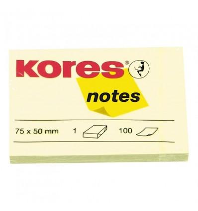 Бумага для заметок KORES 75х50мм, Желтая пастель, 100 листов