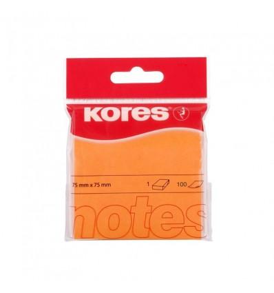 Бумага для заметок KORES 75х75мм, Оранжевая неоновая, 100 листов