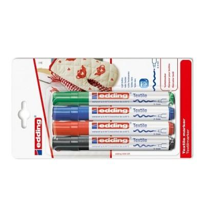 Набор маркеров по ткани edding 4500, круглый наконечник, 2-3мм, 4 цвета