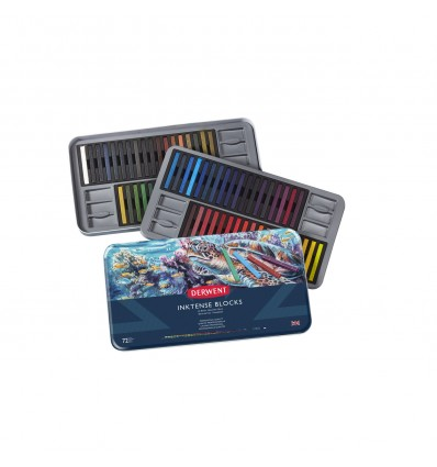 Набор цветных акварельных мелков DERWENT INKTENSE, 72 цвета в метал. коробке