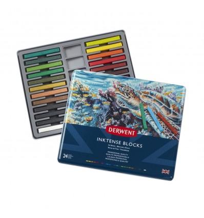 Набор цветных акварельных мелков DERWENT INKTENSE, 24 цвета в метал. коробке