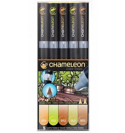 Набор маркеров CHAMELEON Earth Tones / оттенки земли, 2 пера ( пулевидный и кисть), 5 цветов