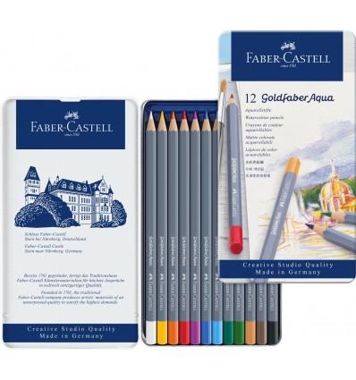 Набор цветных акварельных карандашей FABER-CASTELL Goldfaber Aqua, 12 цветов в металлической коробке