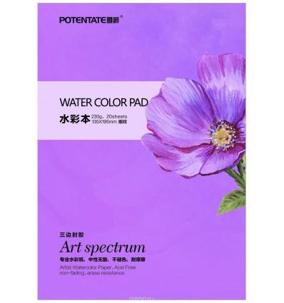 Альбом Potentate Watercolor Block Smooth Surface, 19,5 x 13,5см, 230гр., 20л., гладкая, склейка