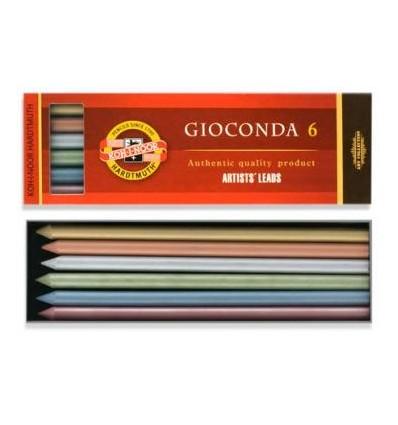 Набор цветных грифелей KOH-I-NOOR Gioconda 4380, d-5,6 мм, разные 6шт (4382, 4381, 4386, 4385, 4384, 4383), металлик