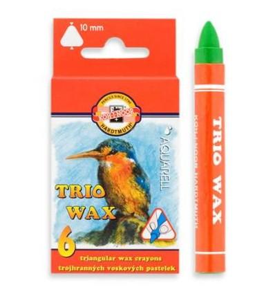 Восковые мелки акварельные Koh-i-Noor TRIO WAX, d-10мм, 6 цветов