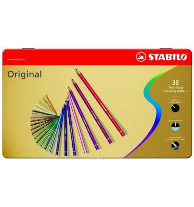 Набор цветных карандашей STABILO ORIGINAL, 38 цветов в металлической коробке