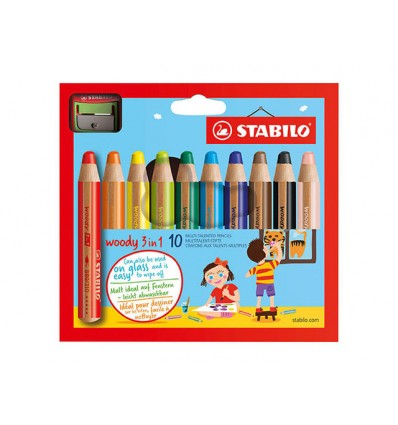 Набор цветных утолщенных карандашей STABILO WOODY 3 in 1, 10 цветов с точилкой