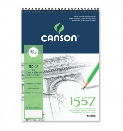 Альбом для графики CANSON 1557 А2 42*59.4см, 120гр. 50л., бумага малое зерно, спираль