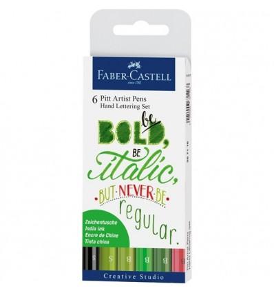 Капиллярные ручки FABER-CASTELL Pitt Artist Pen для леттеринга ВЕСНА, 6 шт