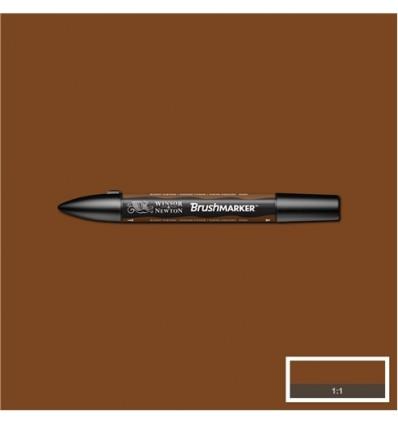Маркер Winsor&Newton Brushmarker, двусторонний 2 пера (кисть и долото), Цвет: O324 Сиена жженая
