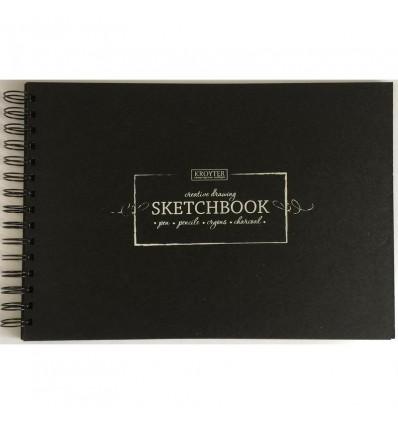 Скетчбук для зарисовок Kroyter 07910, 207х297мм, 200гр., бумага черная, 20 листов, спираль