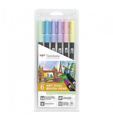 Набор маркеров Tombow ABT 06 Pastel colors (пастельные тона), 2 пера (кисть и тонкое) 6шт