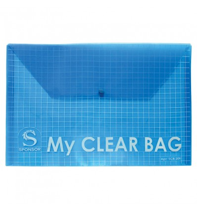 Папка-конверт MY CLEAR BAG на кнопке А4, прозрачная, 0,18мм