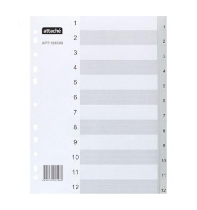 Разделитель листов цифровой 1-12 Attache А4 (290×210мм), пластиковый, 12 листов