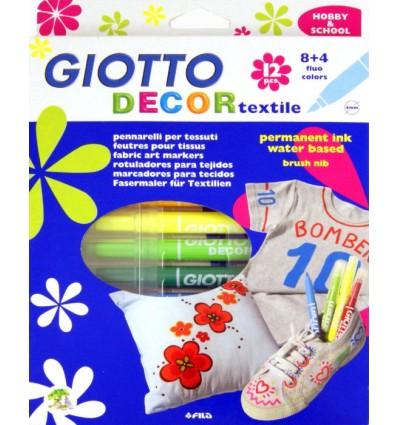 Набор фломастеров по ткани GIOTTO DECOR TEXTILE, 12 цветов