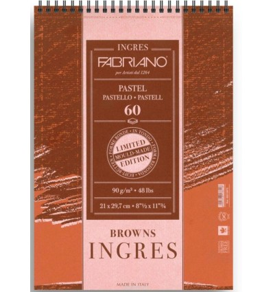 Альбом для пастели FABRIANO INGRES Limited Edition 21x29,7см, 90гр., 60л., Коричневая бумага (3 оттенка), Спираль