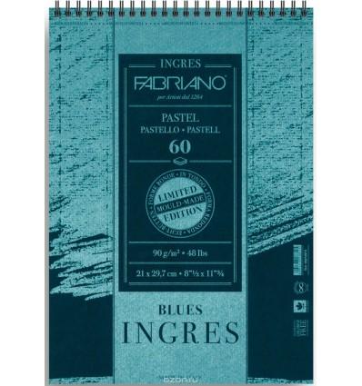Альбом для пастели FABRIANO INGRES Limited Edition 21x29,7см, 90гр., 60л., Синяя бумага, Спираль