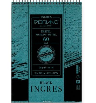 Альбом для пастели FABRIANO INGRES Limited Edition 21x29,7см, 90гр., 60л., Черная бумага, Спираль