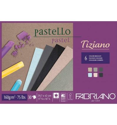 Альбом для пастели Fabriano Tiziano А3 (29,7x42см), 160гр. 30л., 6 холодных цветов, Склейка