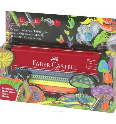 Набор цветных трехгранных карандашей FABER-CASTELL Jumbo Grip, 5шт неоновых и 5шт металлических цветов, в металл коробке