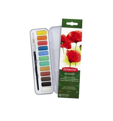 Набор акварельных красок Academy 12 цветов в кюветах, кисть в метал. пенале