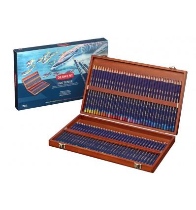 Набор цветных акварельных карандашей DERWENT INKTENSE, 72 цвета в деревянной коробке