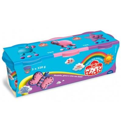 Набор пасты для лепки DIDO, 3 цвета по 220г ( лиловый, синий, розовый)