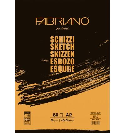 Альбом для зарисовок Fabriano Schizzi A2 (42x59,4см), 90гр., 60л., бумага мелкозернистая, склейка