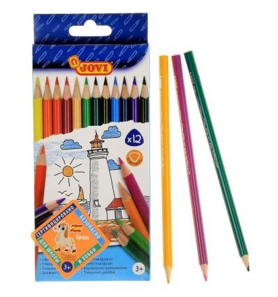 Карандаши цветные JOVI трехгранные, 12 цветов картон